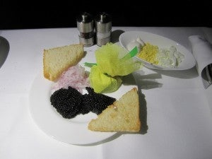 Lufthansa's signature caviar service.