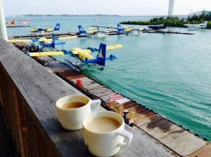 Caffeine fix before boarding the sea plane to Rangali Island!