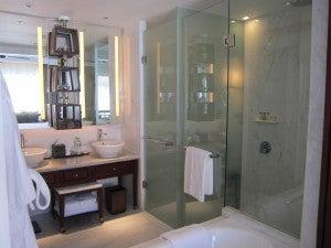 The marble bathroom was palatial.
