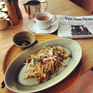 The crab noodles went well with fresh-roasted coffee!