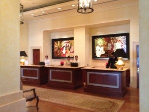 The reception area of the lobby.