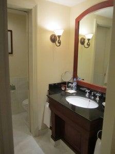 The bathroom had a black granit sink.
