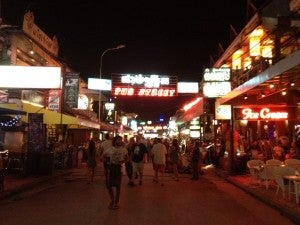 You'll find most of the nightlife in town on Pub Street.