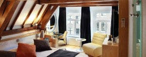 Rooms are decorated in traditional Scandinavian style at the Radisson Blu Amsterdam.
