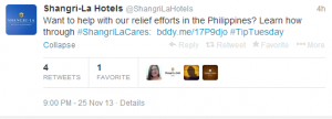 Help the Shangri-La Hotels with relief efforts in the Philippines.