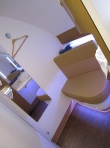 The bathroom's seating area.
