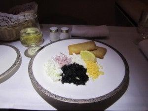 Caviar service.
