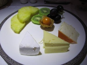 Fresh fruit and cheese for dessert.