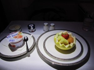 I started off with fruit and yogurt.