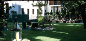The garden at the Bulgari Milan.