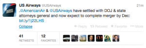 @US Airways tweeted about the big news about the American Airlines merger.