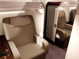 Garuda's new first class suites look pretty sweet.