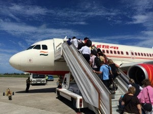 Boarding my Air India flight in Male.