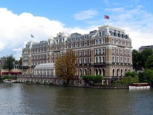 A view of the Intercontinental Amstel Amsterdam, located on the Amstel River.