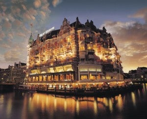 The luxurious De L'Europe Hotel in Amsterdam.