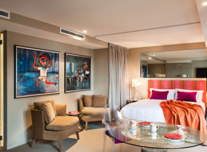 A modern art-inspired suite at The Blackman.