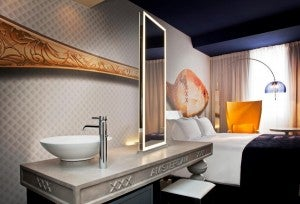 Guestrooms are funky and fun at the Andaz Amsterdam.