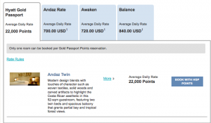 A room at the Andaz Papagayo requires 20,000 points for New Year's Eve.