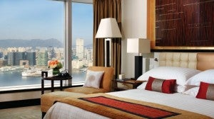 A Harbor View room at the Four Seasons Hong Kong.