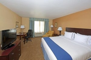 A king room at the Holiday Inn Express.