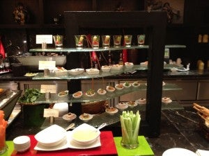 Some of the evening canapes in the club lounge.