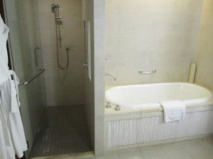 Separate bath and shower.