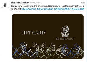 Ritz-Carlton is donating 10% of gift car purchases to Make-A-Wish now through December 22, 2013.