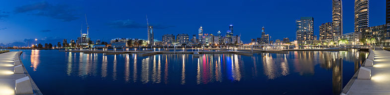 The Melbourne Docklands at night.