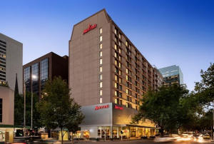 The exterior of the Melbourne Marriott Hotel.