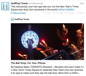 Follow the Times Square ball drop with this new app.