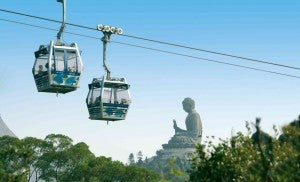 Take a ride over to the Buddha in the Ngong Ping Gondola.
