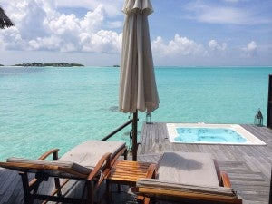 Overwater Spa Villa, with hottub on the deck