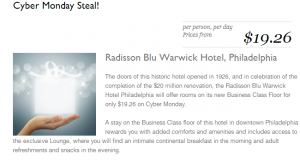 Book a room for just $19.26 at the Radisson Blu Warwick Philadelphia on Cyber Monday.