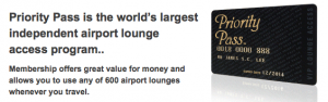 The Priority Pass is a membership program that allows access to airport lounges.