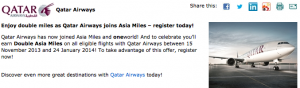 Qatar are offering double miles to celebrate joining Oneworld.