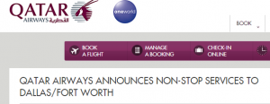 Qatar will operate a flight from Doha to DFW in 2014.