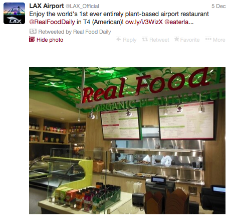 Real Food Daily became the first plant-based airport restaurant when it opened at LAX this week.