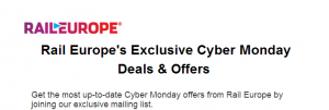 Rail Europe is claiming to have exclusive mystery deals Cyber Monday!