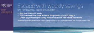 Check out this weeks SPG Escape deals.
