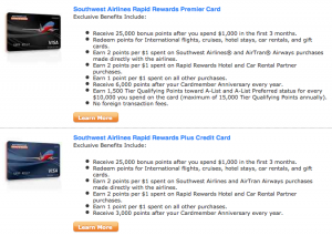 Southwest credit card options.