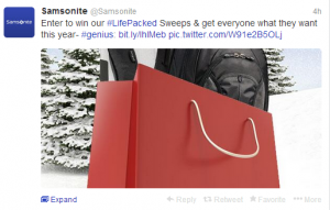 Instagram your photos and win an Amex gift card and free Samsonite goodies.