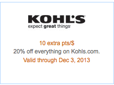 Get a whopping 10X points per $1 at Kohl's and 20% off everything through Tuesday.