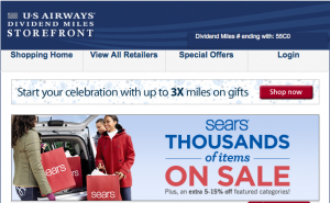 US Airways is offering 6X miles per $1 and 5-15% off at Sears.