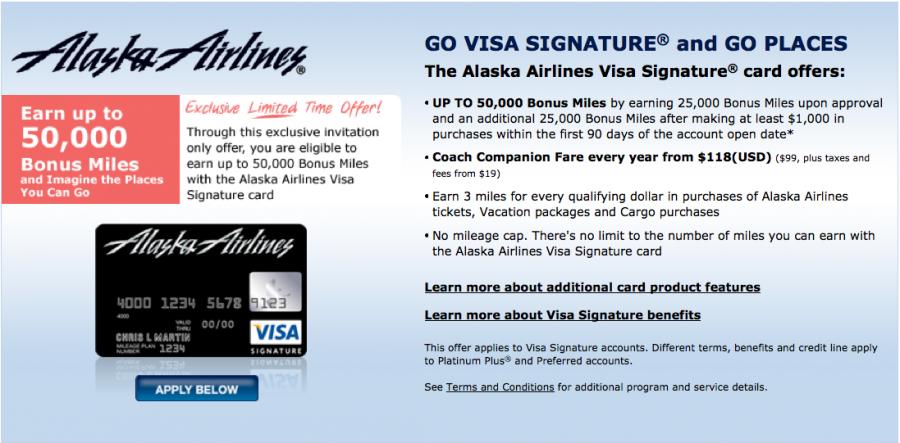 50 000 Mile Sign Up Bonus On The Alaska Airlines Visa