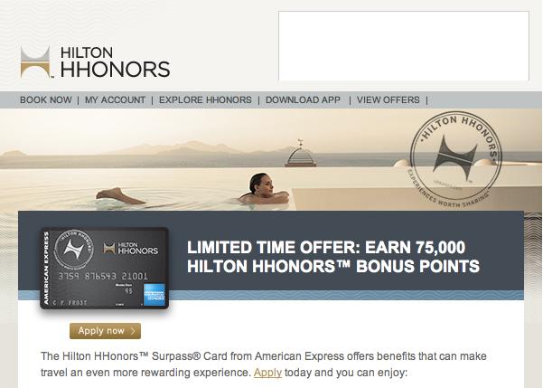 Hilton Hhonors Surpass Card Bonus Hits 75 000 Pointsthe