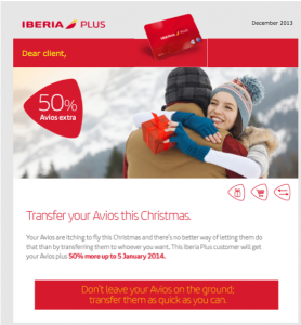 Iberia is offering a bonus of 50% on miles transferred between accounts.