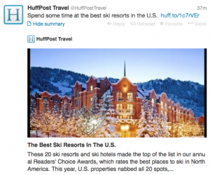 The top ski resorts in North America, according to @HuffPost Travel.