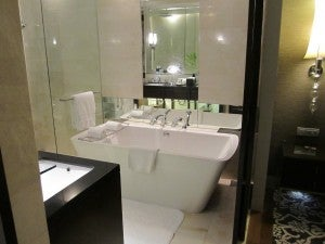 The bathtub and shower.