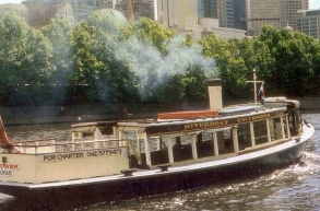 A classic steamboat on the Yarra River.