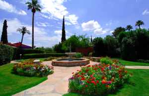 The colorful gardens of the the Arizona Inn.